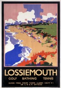 Lossiemouth, Moray Firth, Scotland vintage railway travel poster.